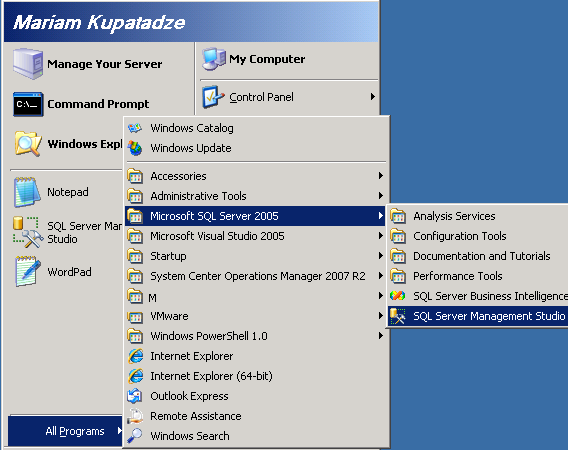 Run SQL Server Management Studio