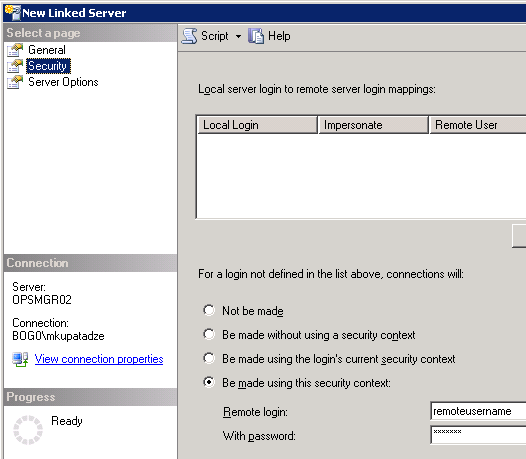 Security->Be made using the security context option(SQL server)