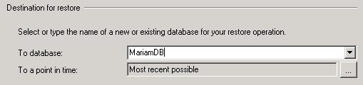 Destination for restore(SQL Server 2005)