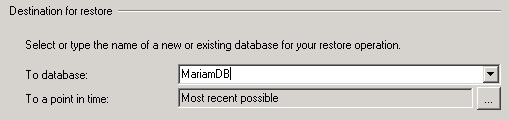 Destination for restore(SQL Server 2005)