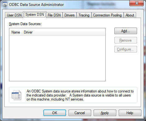 ODBC Data Source Administrator_System DSN