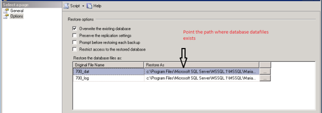 Restore Database_Options(SQL Server 2005)