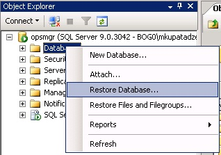 Restore Database(SQL Server 2005)