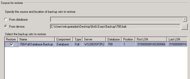 Source for restore_Select the backup sets to restore(checked)(SQL Server 2005)