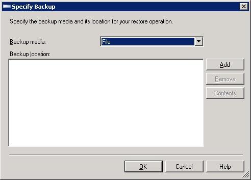 Specify Backup(SQL Server 2005)