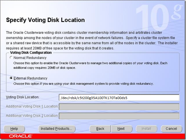 Specify Voting Disk Location
