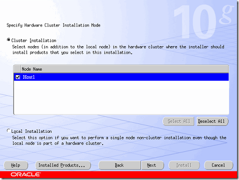 Specify Hardware Cluster Installation Node