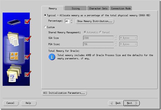 DBCA Memory tab