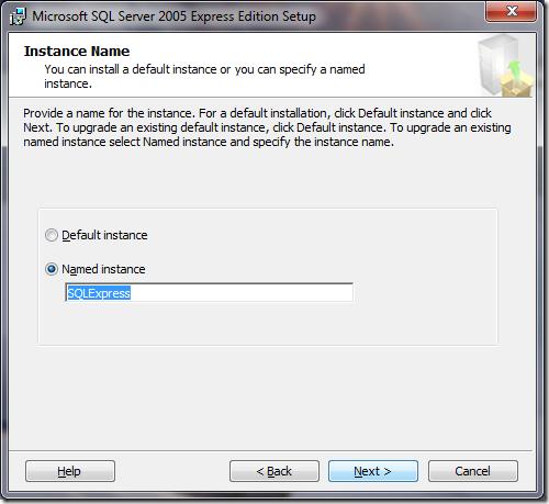 Microsoft SQL Server 2005 Setup Instance Name