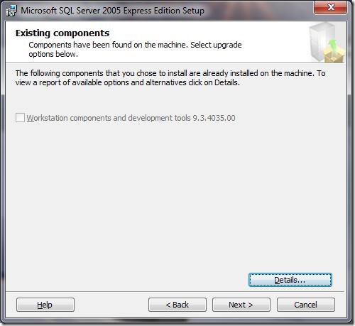 Microsoft SQL Server 2005 Setup Existing Components
