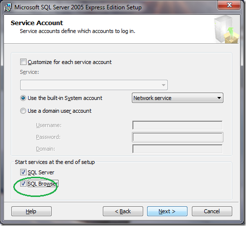 Microsoft SQL Server 2005 Setup Service Account