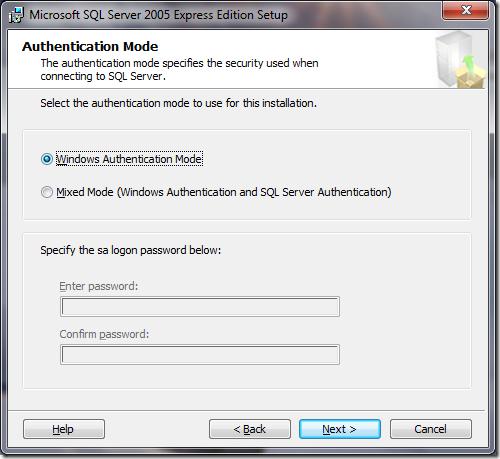 Microsoft SQL Server 2005 Setup Authentication Mode