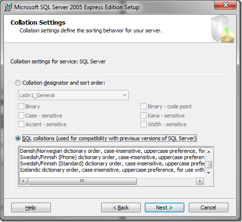 Microsoft SQL Server 2005 Setup Collation Settings
