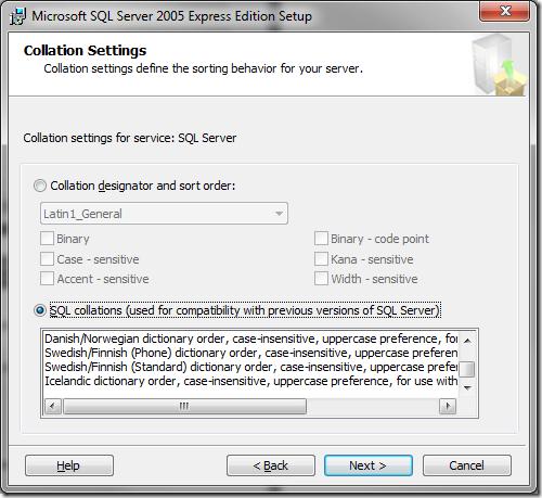 Microsoft SQL Server 2005 Setup Collation Settings