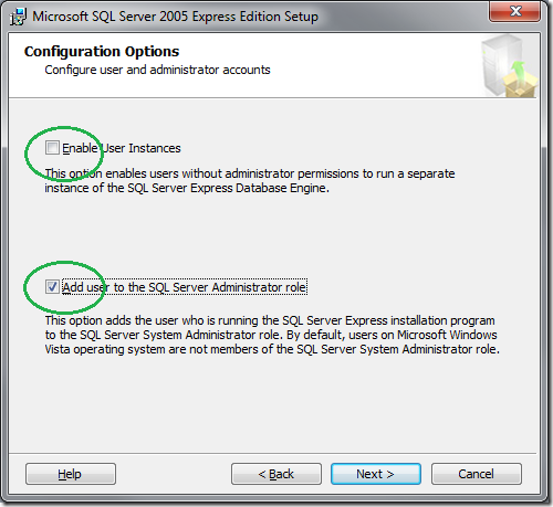Microsoft SQL Server 2005 Setup Configuration Options