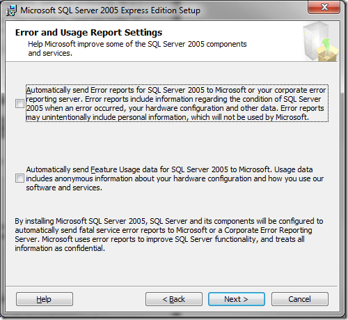 Microsoft SQL Server 2005 Setup Error and Usage Report Settings