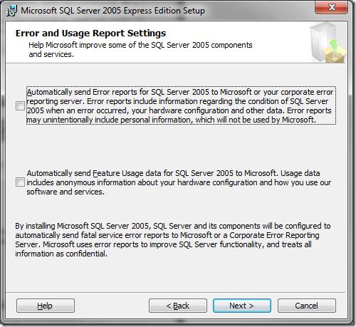 Microsoft SQL Server 2005 Setup Error and Usage Report Settings