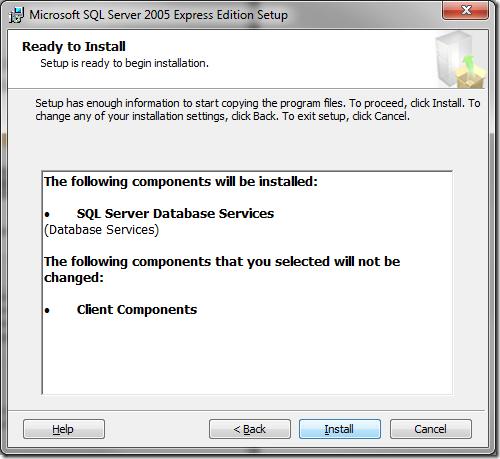 Microsoft SQL Server 2005 Setup Ready to Install