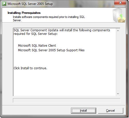 Microsoft SQL Server 2005 Setup Installing Prerequisites