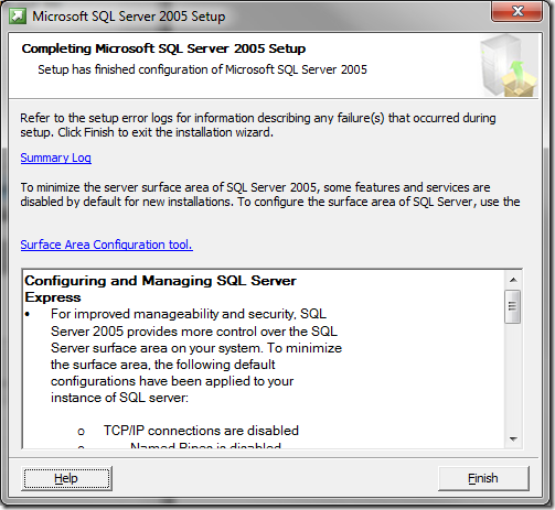 Microsoft SQL Server 2005 Setup Completing MS SQL Server Setup