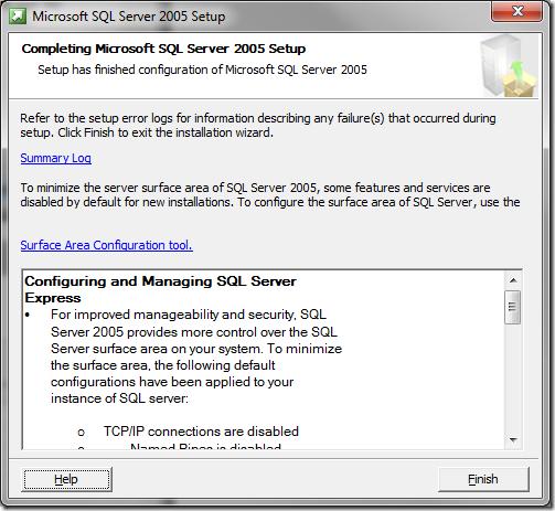 Microsoft SQL Server 2005 Setup Completing MS SQL Server Setup