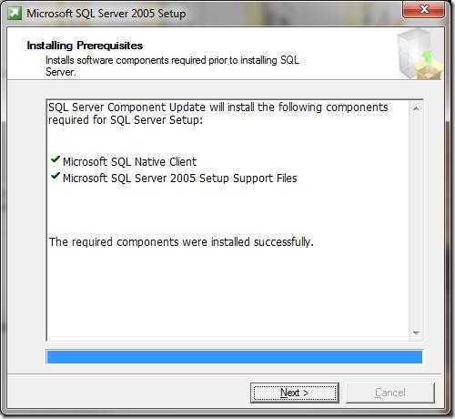 Microsoft SQL Server 2005 Setup Installing Prerequisites 2