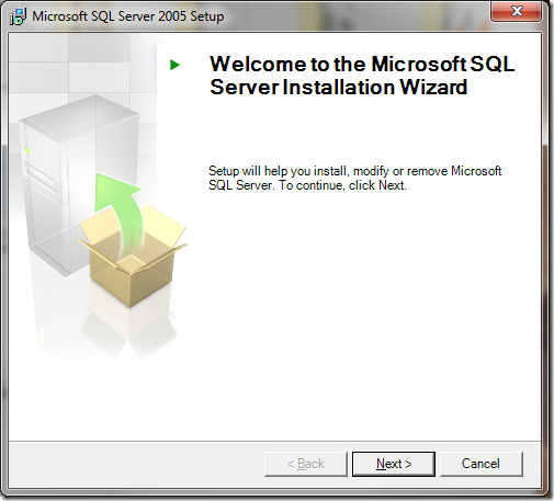 Microsoft SQL Server 2005 Setup Welcome Server Installation Wizard