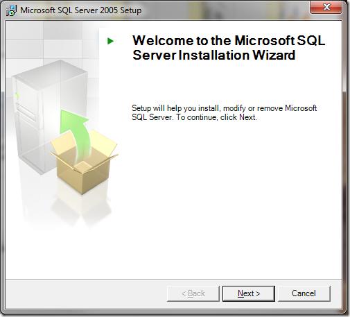 Microsoft SQL Server 2005 Setup Welcome Server Installation Wizard