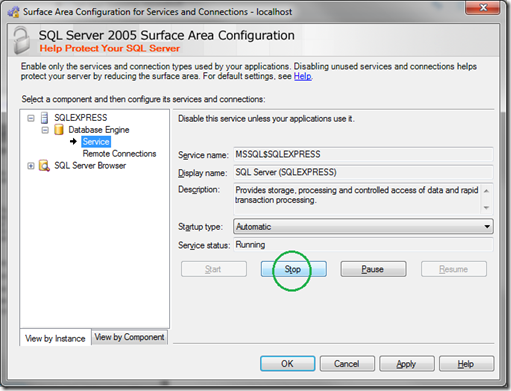 Microsoft SQL Server 2005 Surface Area Configuration_Service_Stop