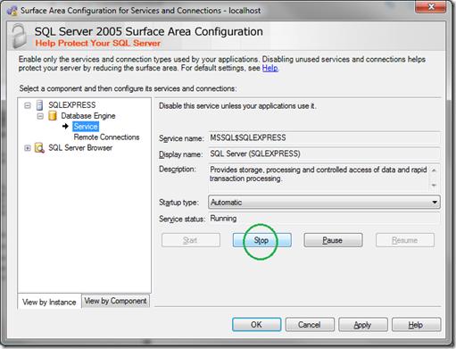 Microsoft SQL Server 2005 Surface Area Configuration_Service_Stop