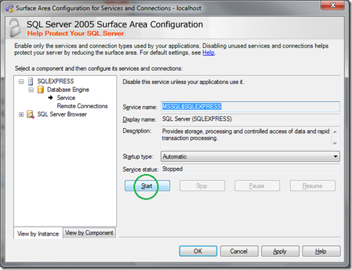 Microsoft SQL Server 2005 Surface Area Configuration_Service_Start