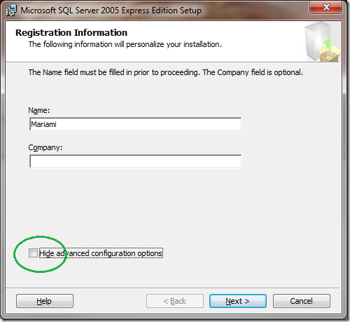 Microsoft SQL Server 2005 Setup Registration Information