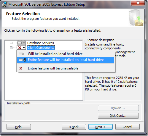 Microsoft SQL Server 2005 Setup Feature Selection