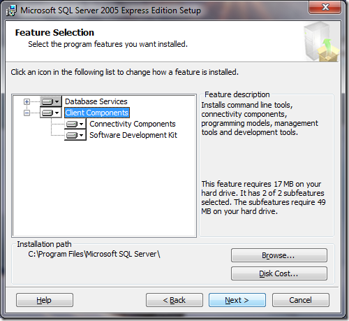 Microsoft SQL Server 2005 Setup Feature Selection 2