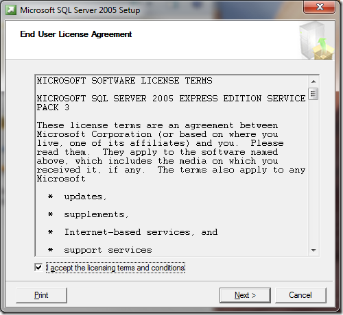 Microsoft SQL Server 2005 Setup End User License Agreement