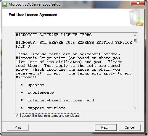 Microsoft SQL Server 2005 Setup End User License Agreement