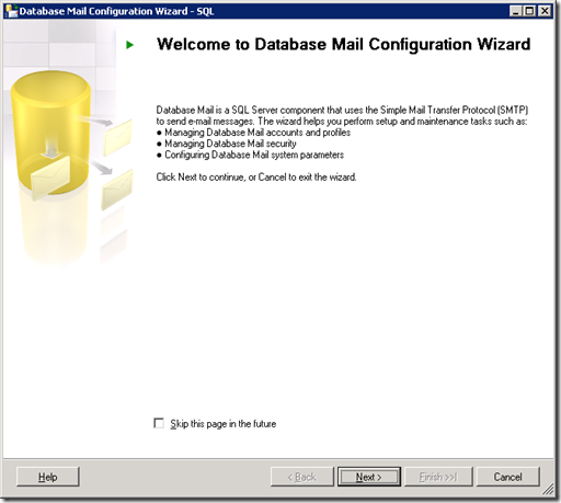 SQL Server  Database Mail Configuration Wizard