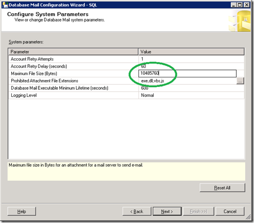 SQL Server  Database Mail Configuration Wizard View Change system parameters