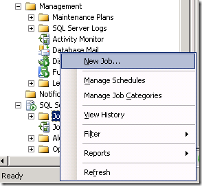 SQL Server Create New Job