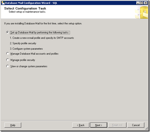 SQL Server  Database Mail Configuration Wizard_Select Configuration_Task