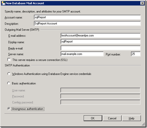 SQL Server Database mail Account