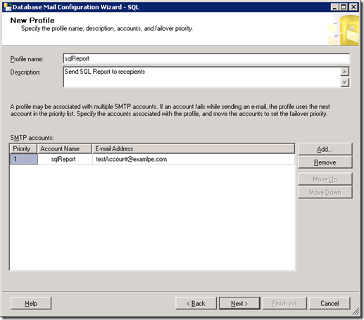 SQL Server Database Mail Configuration Wizard New Profile