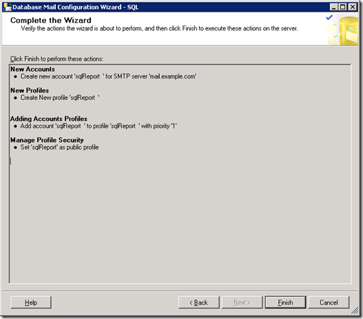 SQL Server Database Mail Configuration Wizard Complete the Wizard