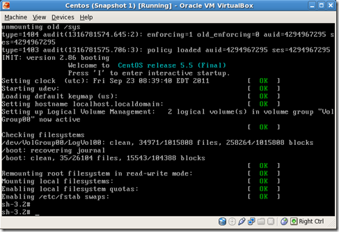 Centos 5.5 VirtualBox Reset root Password