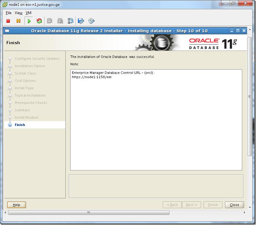 Virtual Machine_Oracle_Database_Installation_Finish