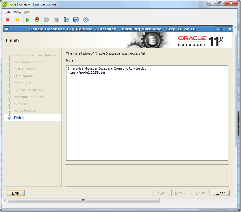 Virtual Machine_Oracle_Database_Installation_Finish