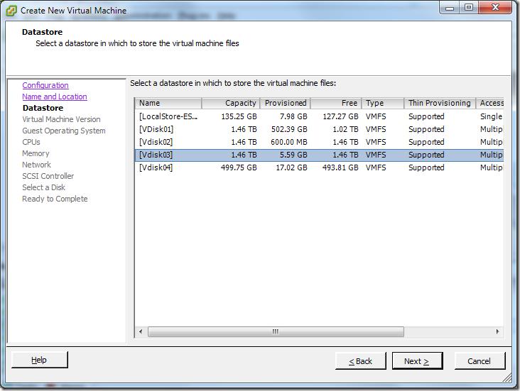 Create New Virtual Machine_Datastore