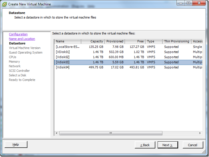 Create New Virtual Machine_Datastore