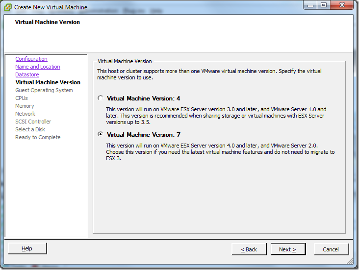 Create New Virtual Machine_Version