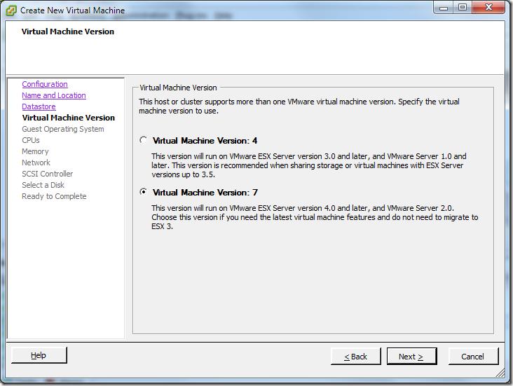 Create New Virtual Machine_Version